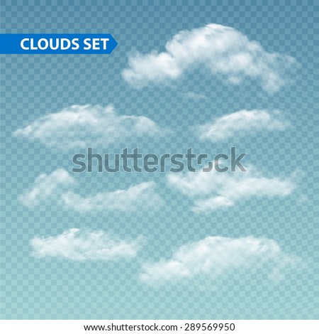 Set of transparent different clouds. Vector illustration EPS 10 Royalty-Free Stock Photo #289569950