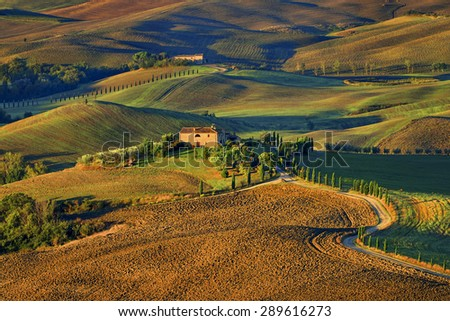 Pienza Toscana Italy, road to the pictures of which were made into the famous movie GLADIATOR