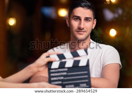 Professional Actor Ready for a Shoot - Portrait of a handsome man a ready to film a new scene   Royalty-Free Stock Photo #289654529