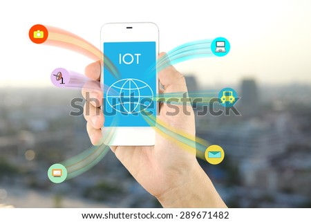 internet of things with mobile phone on building background #289671482