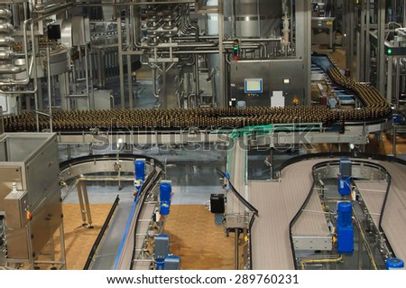 Moscow, Russian Federation March 07, 2015: Plastic water bottles on conveyor or water bottling machine #289760231