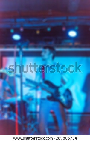 Musical band performing live blur background with abstract bokeh #289806734