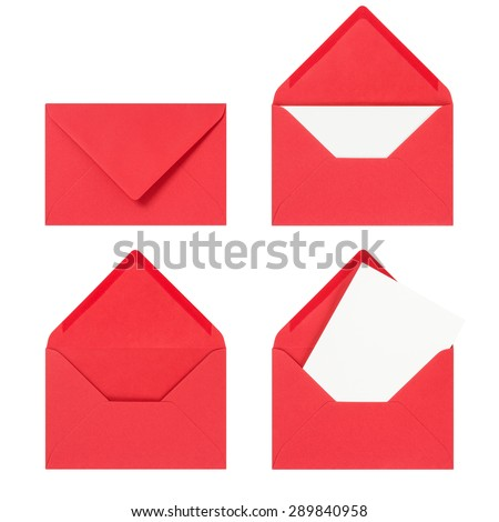 Red envelope on a white background Royalty-Free Stock Photo #289840958