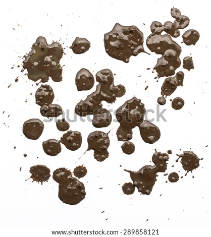 Splattered mud with drip pattern on a white background #289858121
