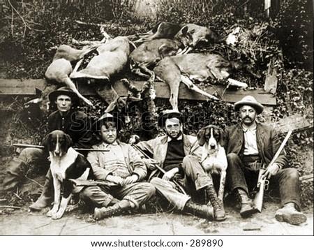 Vintage Photo of a Deer Hunters