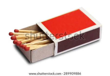 Box of matches isolated on white background Royalty-Free Stock Photo #289909886