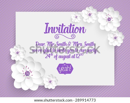 Wedding invitation card. Vector invitation card with abstract background and elegant frame with text decorated with 3d flowers.