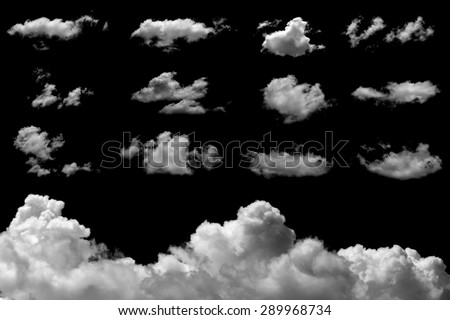 Set of isolated clouds on black background. #289968734