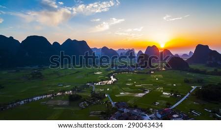 Guilin Hills and Li River at Dawn
