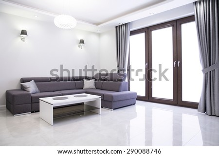Living room with elegant sofa in modern house #290088746