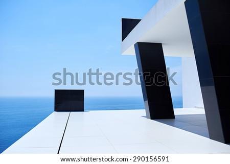 External view of a contemporary house modern villa at  sunset #290156591
