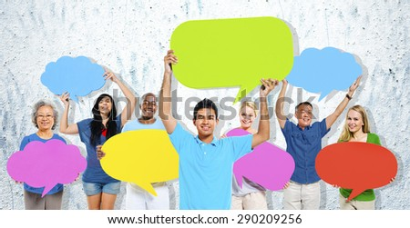 Diversity People Holding Colorful Speech Bubbles Concept #290209256