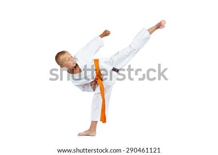 On a white background athlete beats high kick Yoko geri #290461121