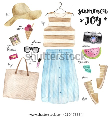 Summer outfit. Hand drawn watercolor fashion illustration.