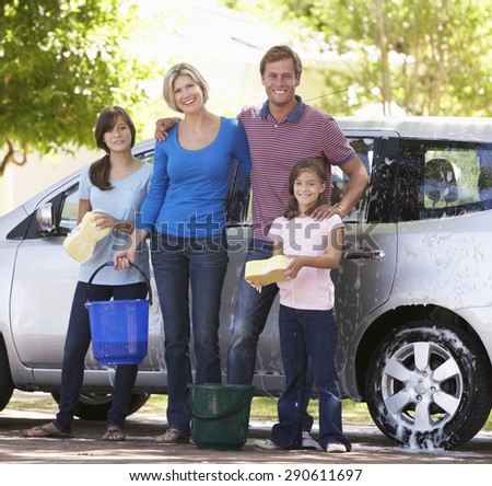 Family Washing Car Together #290611697