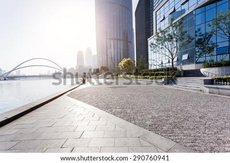 urban building with cement floor road #290760941