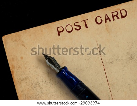 worn postcard with fountain pen #29093974