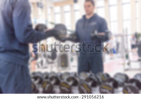 Fitness gym centre abstract blur background with bokeh #291056216