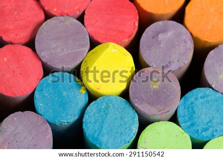 chalk drawing close up / chalk drawing close up shallow depth of field focus on violet chalk #291150542