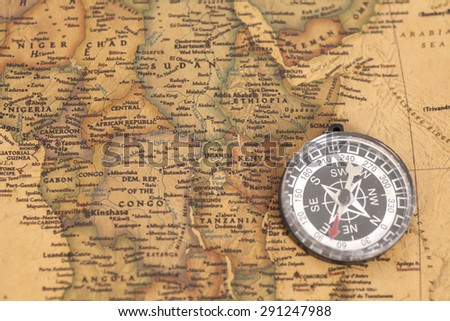 compass on vintage map #291247988