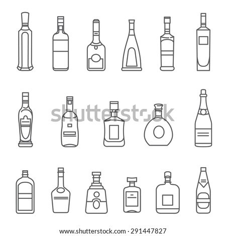 Alcohol bottles. Set of black line icons. Different types of alcohol bottles. #291447827