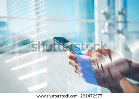 Double exposure of hands and smartphone #291472577