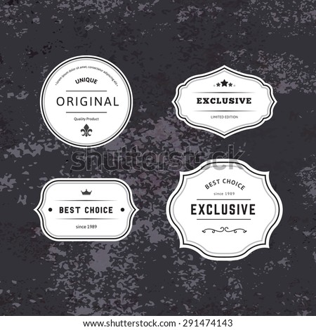 Set of Hipster Labels with Frames. Authentic Retro Vector Tags Design. Minimalistic Craft Beer Badges. #291474143
