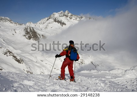 Skier on the peak of mountain #29148238