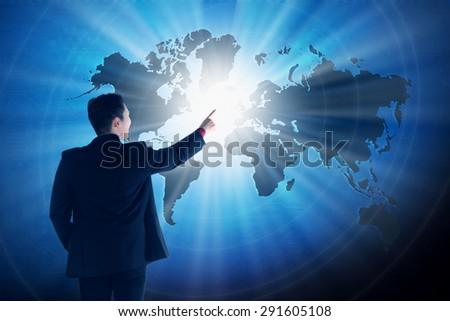 Asian business man touching world on virtual screen. Globalization business concept #291605108