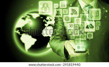 Business man using smart phone with social media icon set #291819440