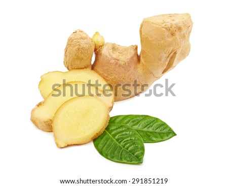 Fresh ginger with leaves isolated on white background  #291851219