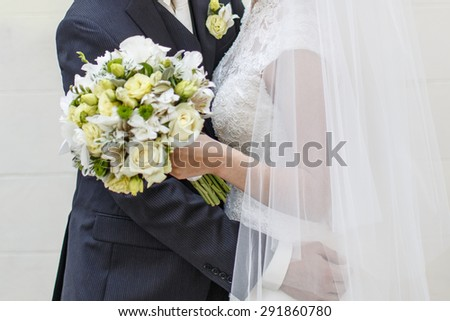 Bride and groom together. Wedding picture.