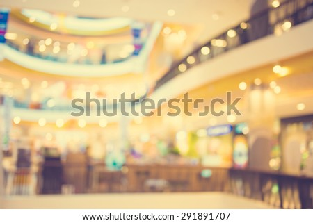 Blurred image of shopping mall and bokeh background : Vintage filter #291891707
