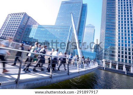 London office buinesss building movement in rush hour Royalty-Free Stock Photo #291897917