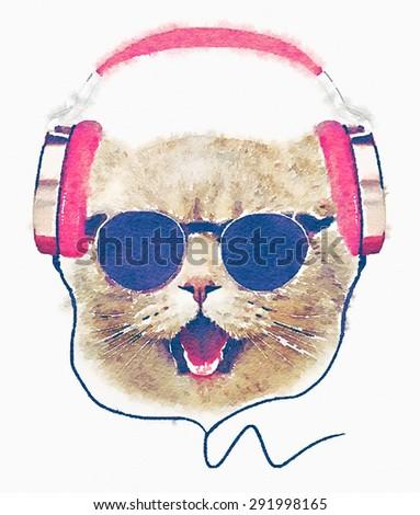 Musician cute cat illustration.watercolor animal print.T-shirt graphic.