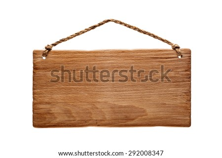 wooden rustic signboard hanging from a rope, isolated