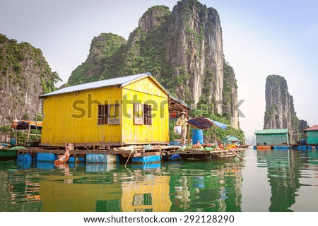 Local resident Halong Bay with the goods for sale Royalty-Free Stock Photo #292128290