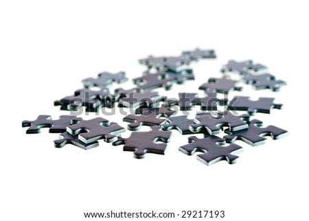 Pieces of textured puzzle, isolated on white background #29217193
