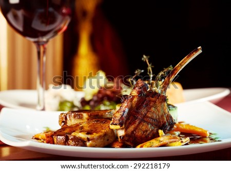 luxury dinner served on  the table with glass of red wine #292218179