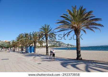 ROSES, SPAIN - MAY 27: Waterfront promenade in mediterranean town Roses. May 27, 2015 in Catalonia, Spain #292373858