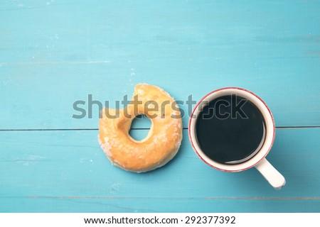 fresh donut with coffee #292377392