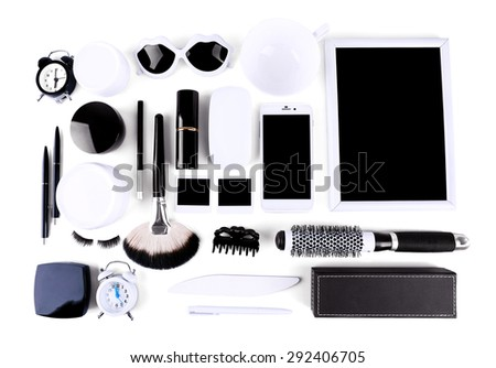 Essentials fashion woman objects on light background #292406705