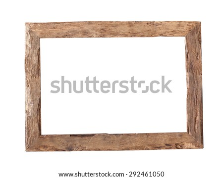 Wooden Frame. Rustic wood frame isolated on the white background