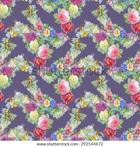 Summer Colorful floral watercolor Seamless pattern on purple background with birds vector illustration #292544672