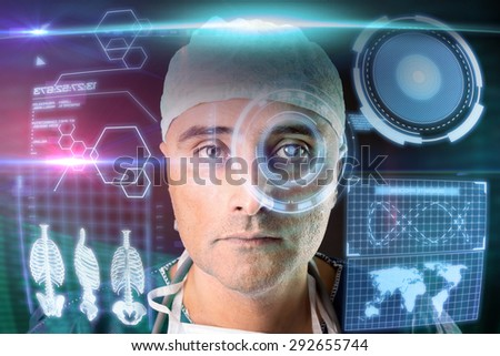 Doctor in uniform with digital  screens and heads-up display #292655744