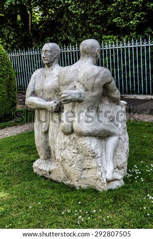 PARIS, FRANCE - JUNE 3, 2015: Modern ceramic sculpture near Ceramics Museum. Located in building specially built in 1876 on banks of river Seine, Sevres Ceramics Museum contains over 50,000 ceramics. #292807505