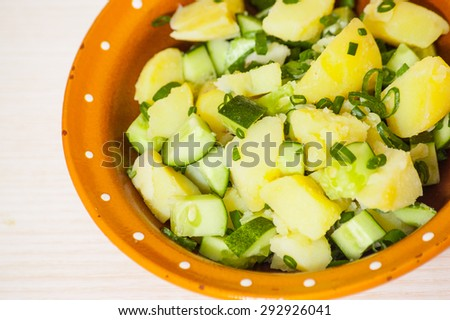 Potato salad with green onions and cucumber #292926041