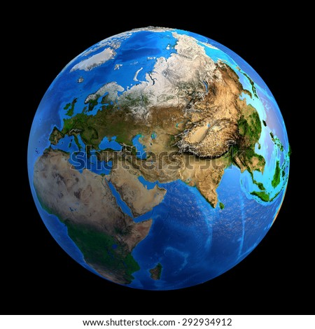 Detailed picture of the Earth and its landforms, isolated on black. Elements of this image furnished by NASA