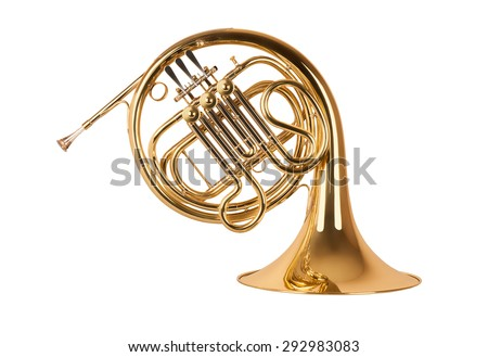 Golden french horn in hard light isolated on white background Royalty-Free Stock Photo #292983083