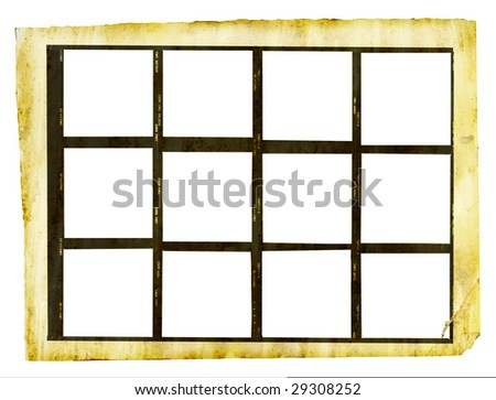 grungy printed contact sheet medium format with twelve picture frames, isolated on white background